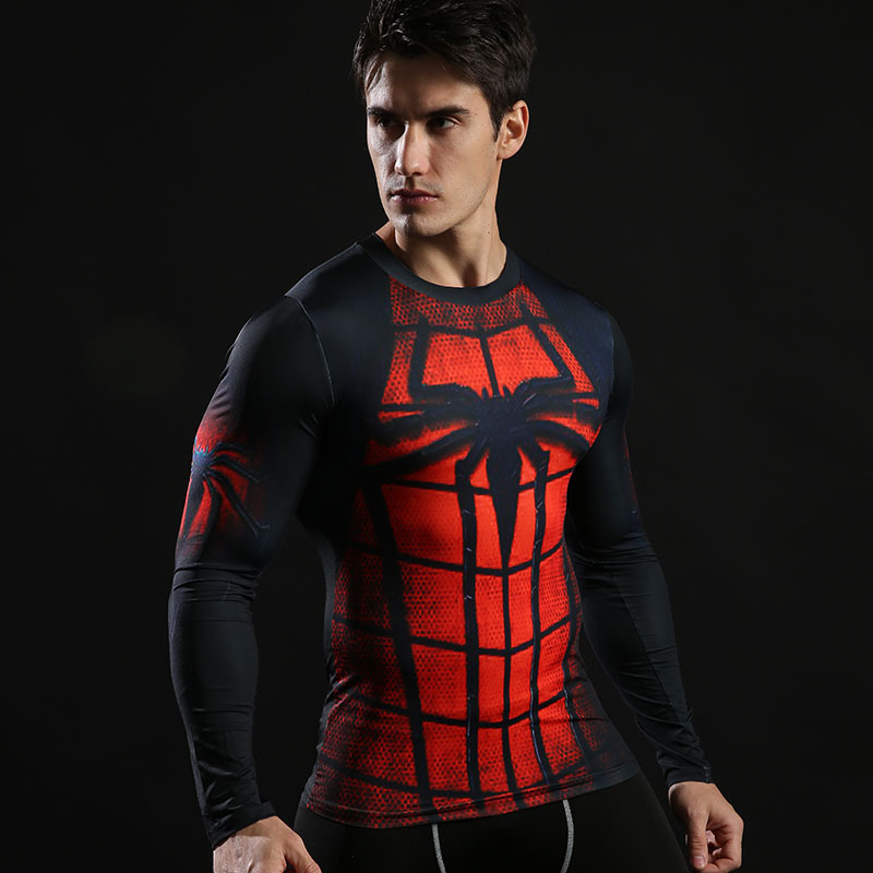 271374e2ed20a Long Sleeve Black Red Spider Man Super Hero Compression Shirt ...