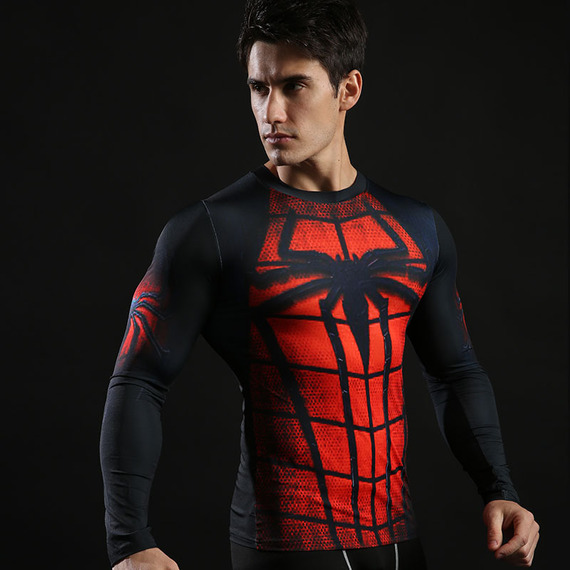 Long Sleeve Black Red Spider Man Super Hero Compression Shirt 02