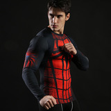 long sleeve spider man dri fit compression shirt red
