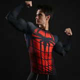 red spider man compression shirt long sleeve superhero workouts tee top