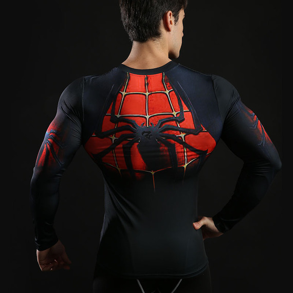 Long Sleeve spider man athletic shirt red dri fit compression shirt