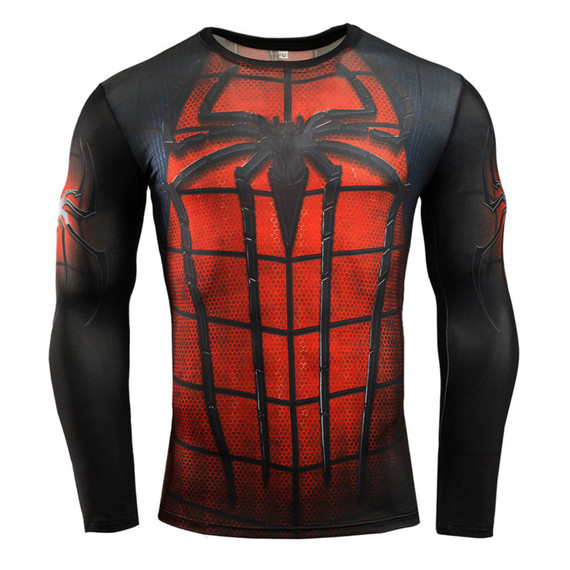 red spiderman running shirt long sleeve dri fit superhero compression shirt