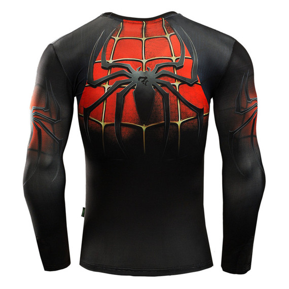 the amazing spider man costume long sleeve dri fit superhero compression shirt black red
