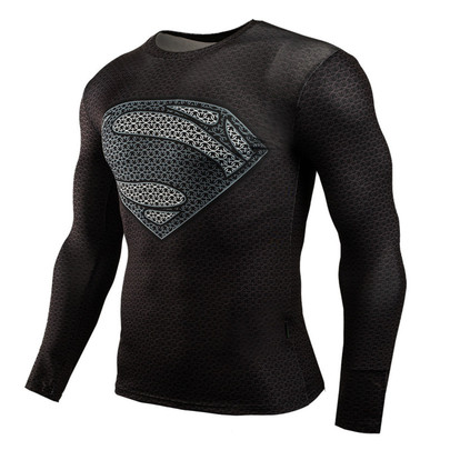 Long Sleeve Black Superman Compression Shirt