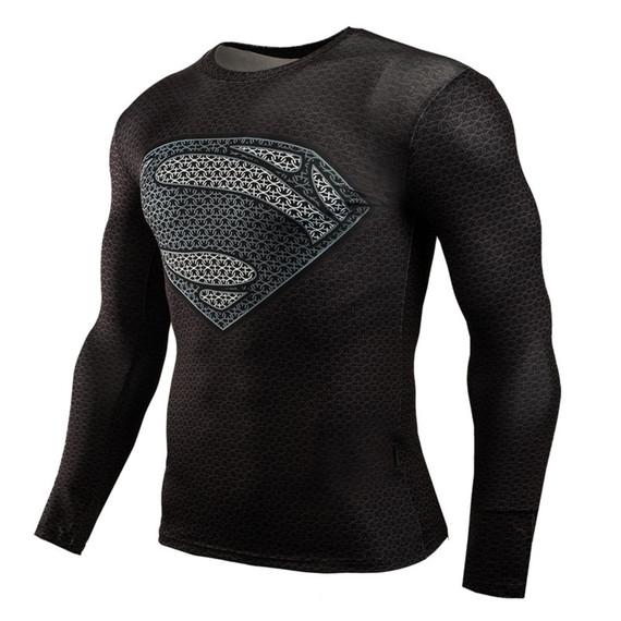 Long Sleeve Black Superman Compression Shirt