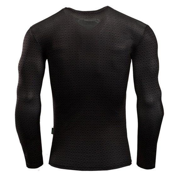 black superman workouts shirt long sleeve dri fit compression shirt