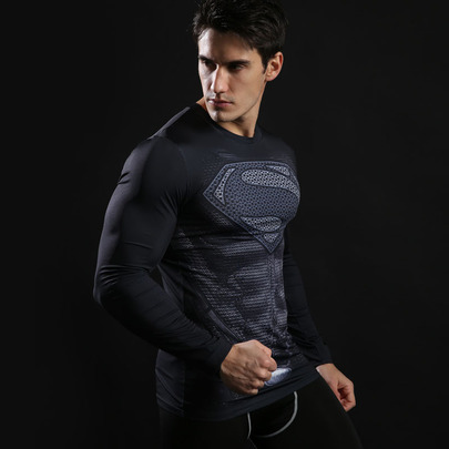 Long Sleeve Black Superman dri fit Compression Shirt