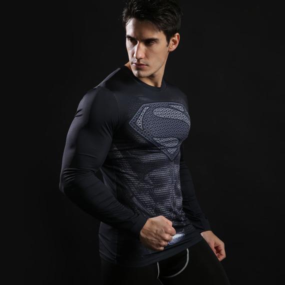 Long Sleeve Black Superman dri fit Compression Shirt