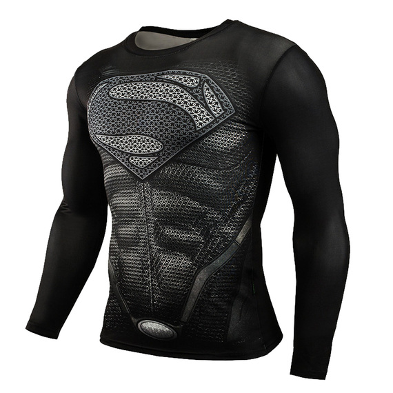 Black Superman Compression Shirt Long Sleeve super hero top tee