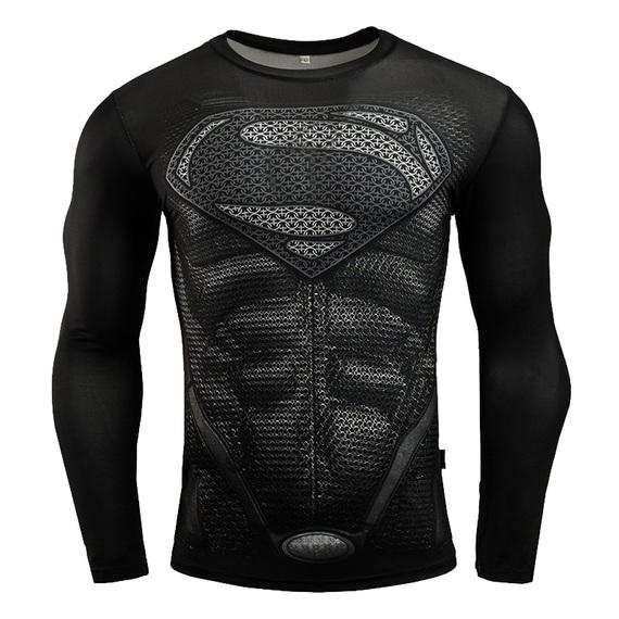 superman long sleeve superhero compression shirt black