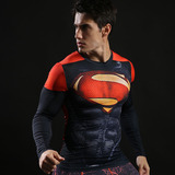Super Man Long Sleeve dri fit Compression Shirt Red