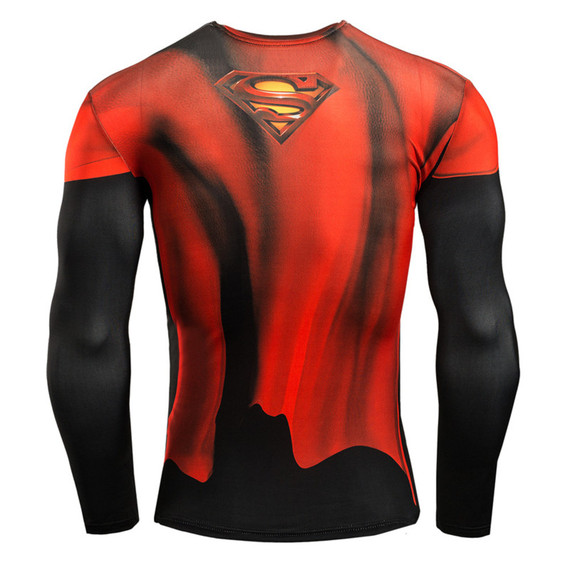 red super man long sleeve compression shirt dri fit gym tee