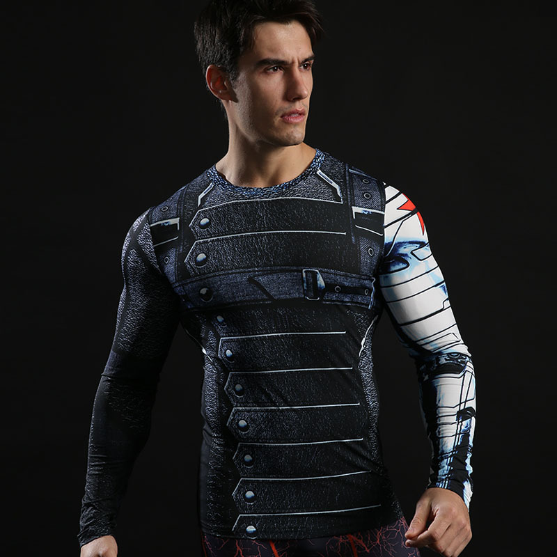 Super Heros Winter Soldier Long Sleeve Compression Shirt