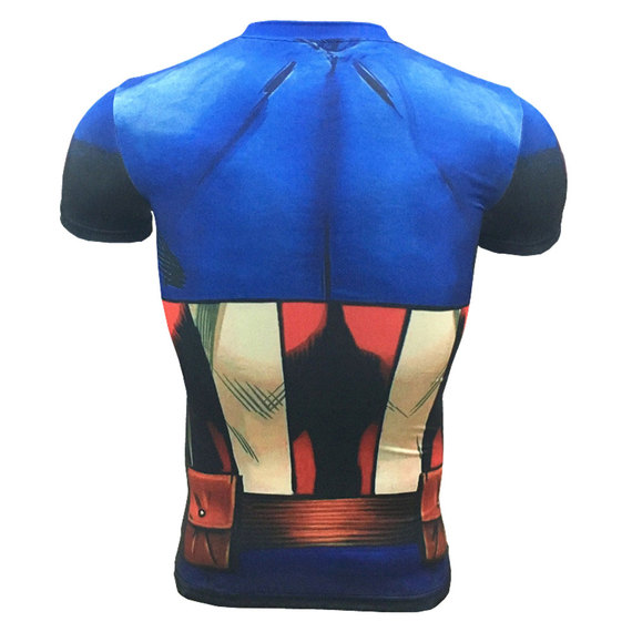dri fit captain america workout shirt short sleeve compression shirt blue red