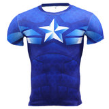 Dri-fit Short Sleeve Superhero Captain America Compression Running Shirt Blue