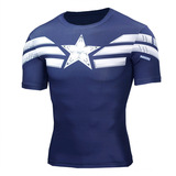 Short Sleeve Super Heros Captain America Running Shirt Navy Blue