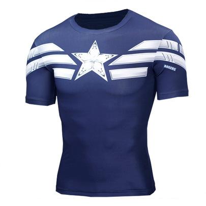 Short Sleeve Super Heros Captain America Running Shirt Navy Blue