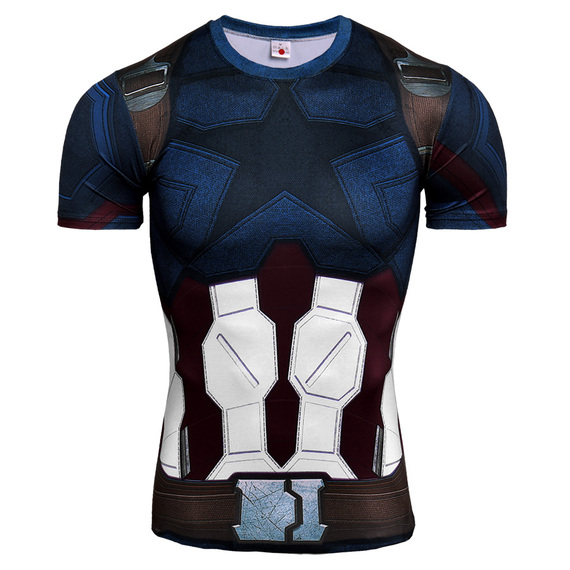 Short Sleeve Dri-fit Captain America Compression Shirt Infinity War