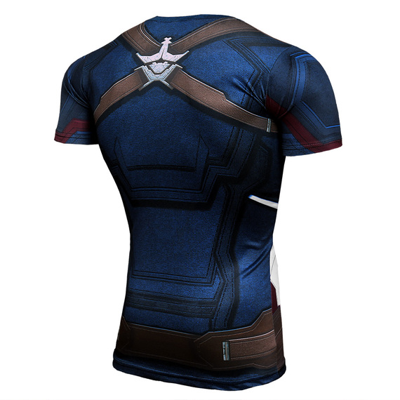 Dri-fit Superhero Captain America Compression Running Shirt Short Sleeve
