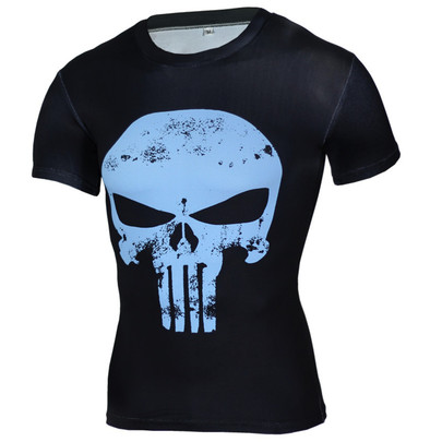quick dry Punisher Compression Shirt Blue Short Sleeve Superhero T Shirt