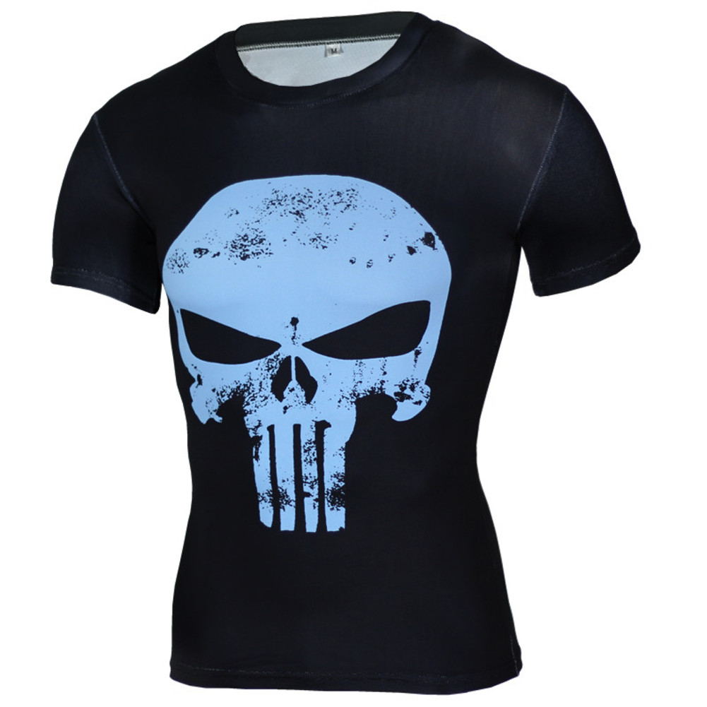 Punisher Compression Shirt Blue Short Sleeve Superhero T Shirt