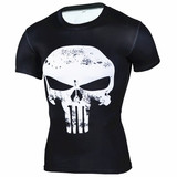 Short Sleeve Punisher Skull Compression Shirt White
