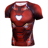 Dri-Fit iron man athletic shirt short sleeve Compression Shirt Red
