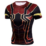 Short sleeve superhero compression shrit spiderman costume black and red