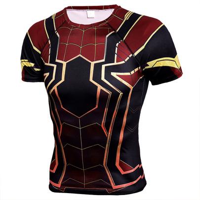 Short sleeve superhero compression shrit spiderman costume black and red