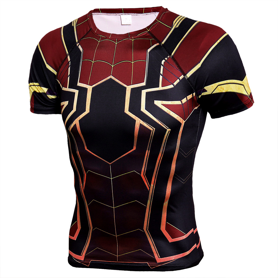196850f5 Short sleeve superhero compression shrit spiderman costume black and red