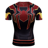 Dri-Fit Spider Man Compression Shirt Short Sleeve Superhero Workout Shirt - Avengers Infinity War