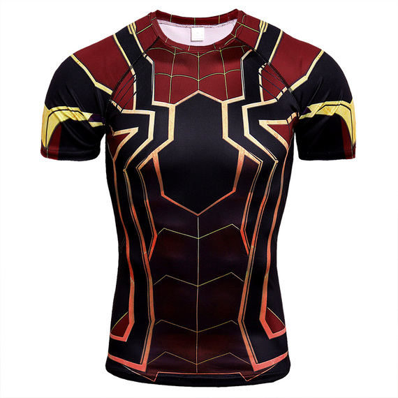 Short Sleeve compression shirts for men spiderman - avengers infinity war