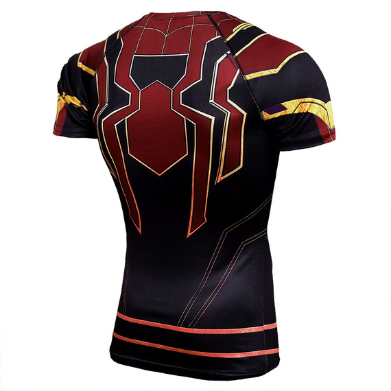 Short Sleeve Spiderman Halloween Outfit Dri-fit Compression Workouts Shirt Red