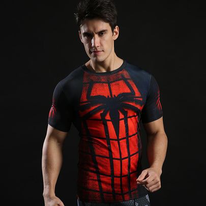 Dri-fit Superhero Spiderman Compression Shirt Short Sleeve 01