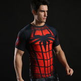 Dri-fit Spiderman Compression Workouts Shirt Short Sleeve Red