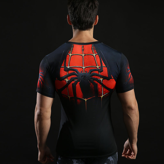 Dri-fit Red Spiderman Compression Gym Shirt Short Sleeve