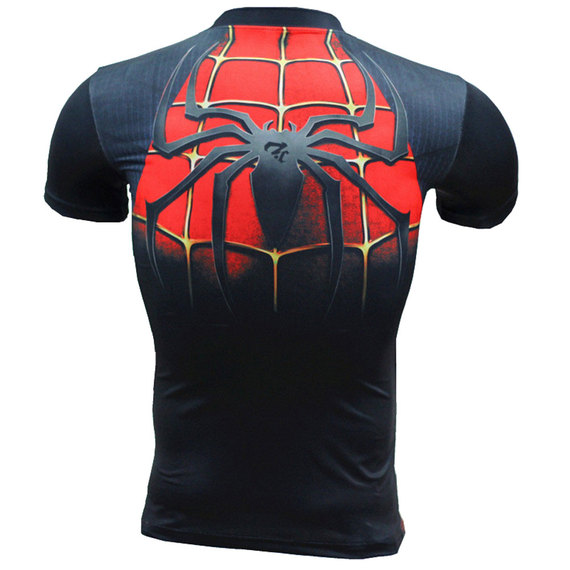 Dri-fit Spiderman Compression Workouts Shirt Short Sleeve