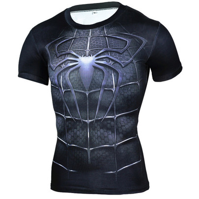 dri fit spiderman halloween outfit crewneck short sleeve compression shirt black