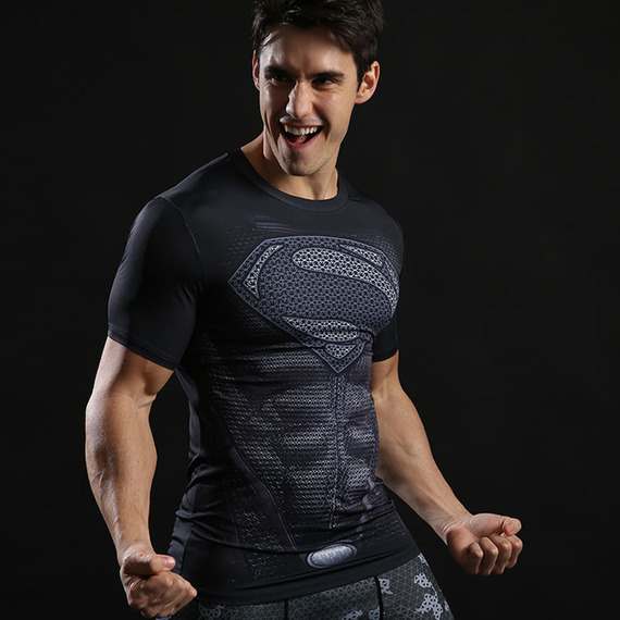 Dri Fit Short Sleeve Superhero Superman Compression Athletic Shirt Black