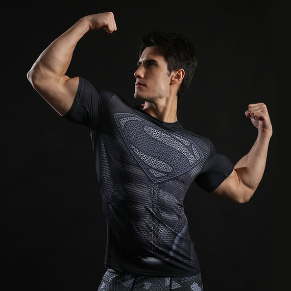 Short Sleeve Superhero Superman Compression Athletic Shirt Black 04
