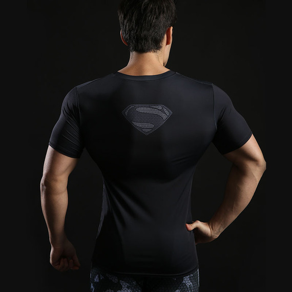 Short Sleeve Superhero Superman Compression Athletic Shirt Black 05