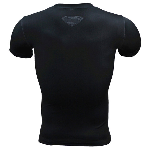 black superman t shirt short sleeve compression workouts shirt