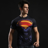 quick dry short sleeve superman compression shirt black red