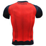 superman compression shirt Short sleeve Workouts Tee Black Red