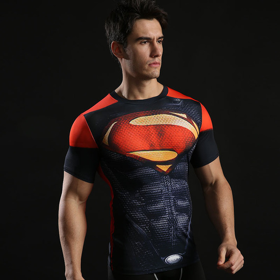 Dri Fit Superman Short Sleeve Compression Running Shirt Halloween Costume