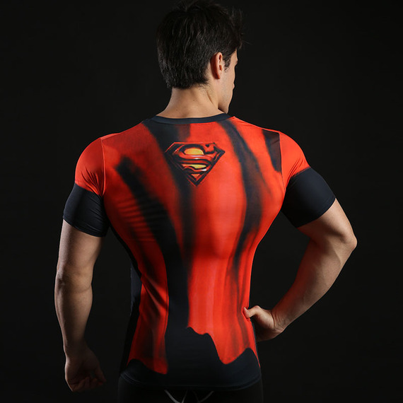 Superman Compression Shirt Short Sleeve Workouts Tee Red