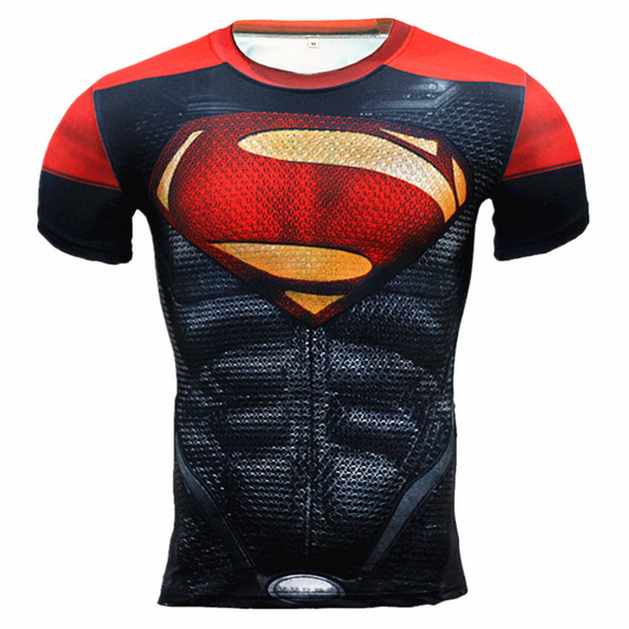 Cool Superman Short Sleeve Compression Shirt Halloween Costume 07