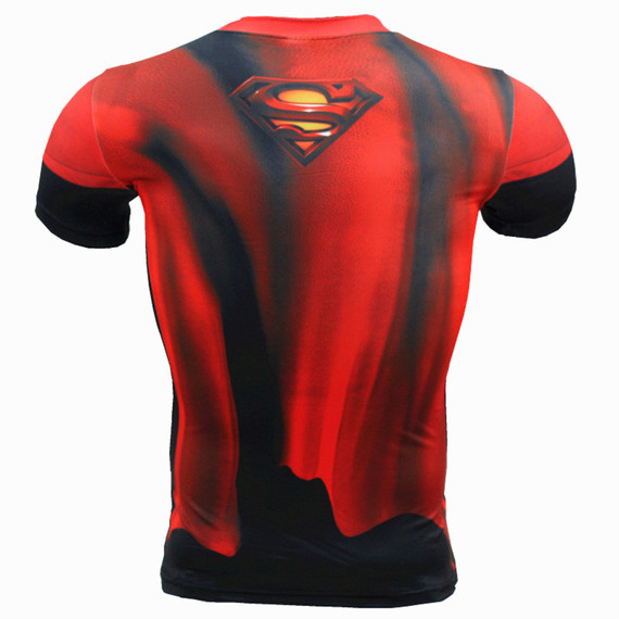 superman halloween costume Short Sleeve Compression Workouts Shirt Red Black