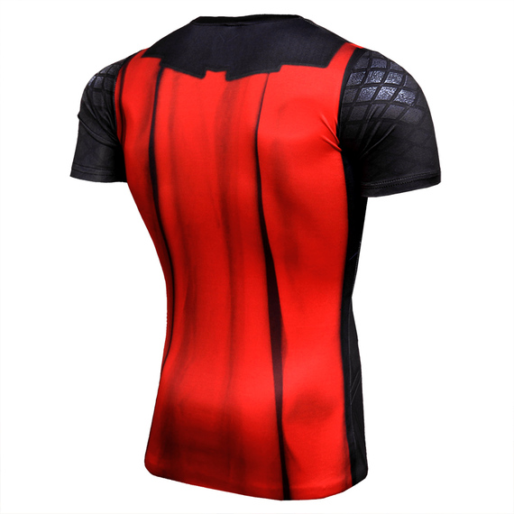 quick dry thor compression shirt short sleeve black red