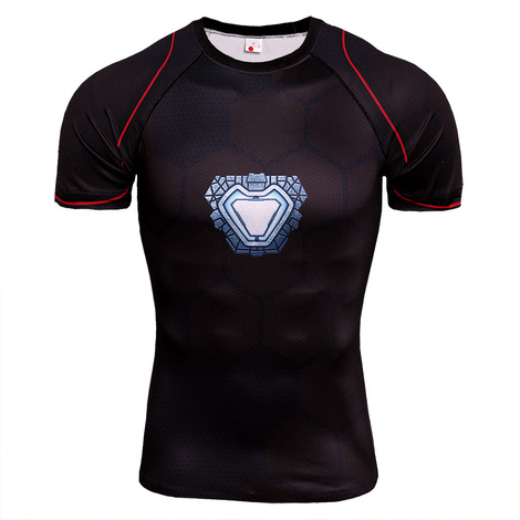 Dri-fit Superhero Iron Man Compression Shirt Short Sleeve 03